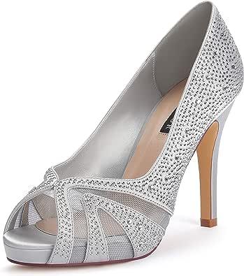 ERIJUNOR Women High Heel Peep Toe Rhinestones Satin Bridal Wedding Shoes