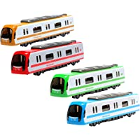 higadget Metal Toy Train with Lights and Music , Push Back Train Toy ( Pack of 2 )