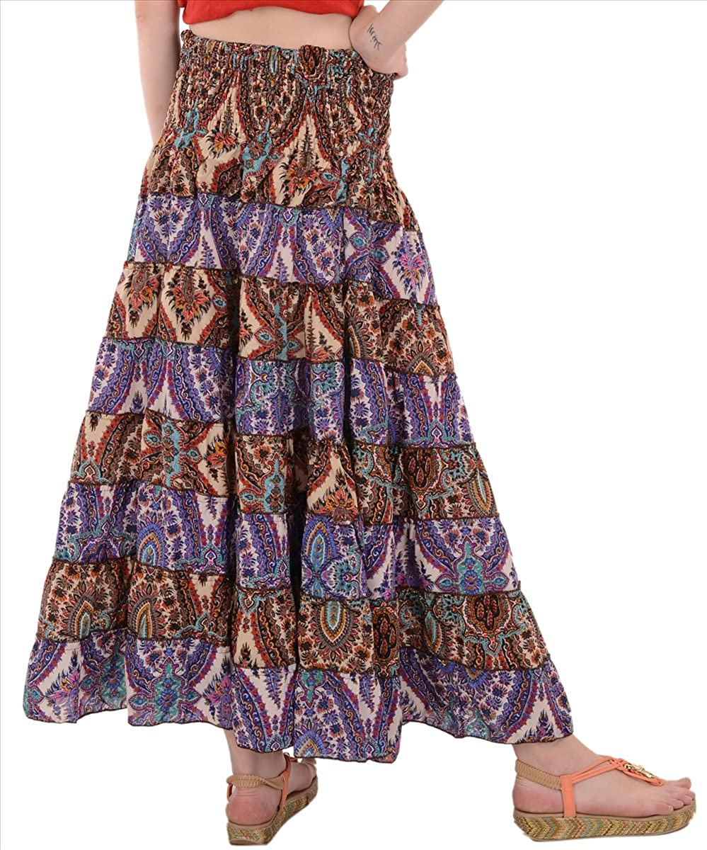 4b0b37e4c67de4 SAJ Women s Moss Crepe Printed Tiered Full Length Skirt at Amazon Women s  Clothing store