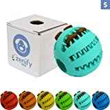 Zenify Puppy Toys Dog Toy Food Treat Interactive Puzzle Ball for Tooth Teething Chew Fetch Tennis Training Boredom Behaviour Dispensing Stimulation Pet Dogs & Puppies (Turquoise Small)