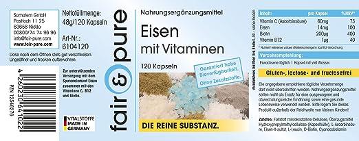 Hierro con vitaminas - Vitamina C, biotina y vitamina B12 - 120 cápsulas - Sustancia pura y sin aditivos: Amazon.es: Salud y cuidado personal