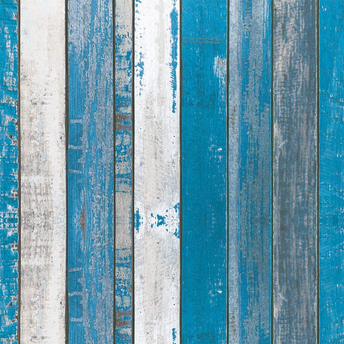 Home Collection Maison Cuisine Set 40 Serviettes de Table Jetables 3 Plis Motif Planches de Bois Bleu