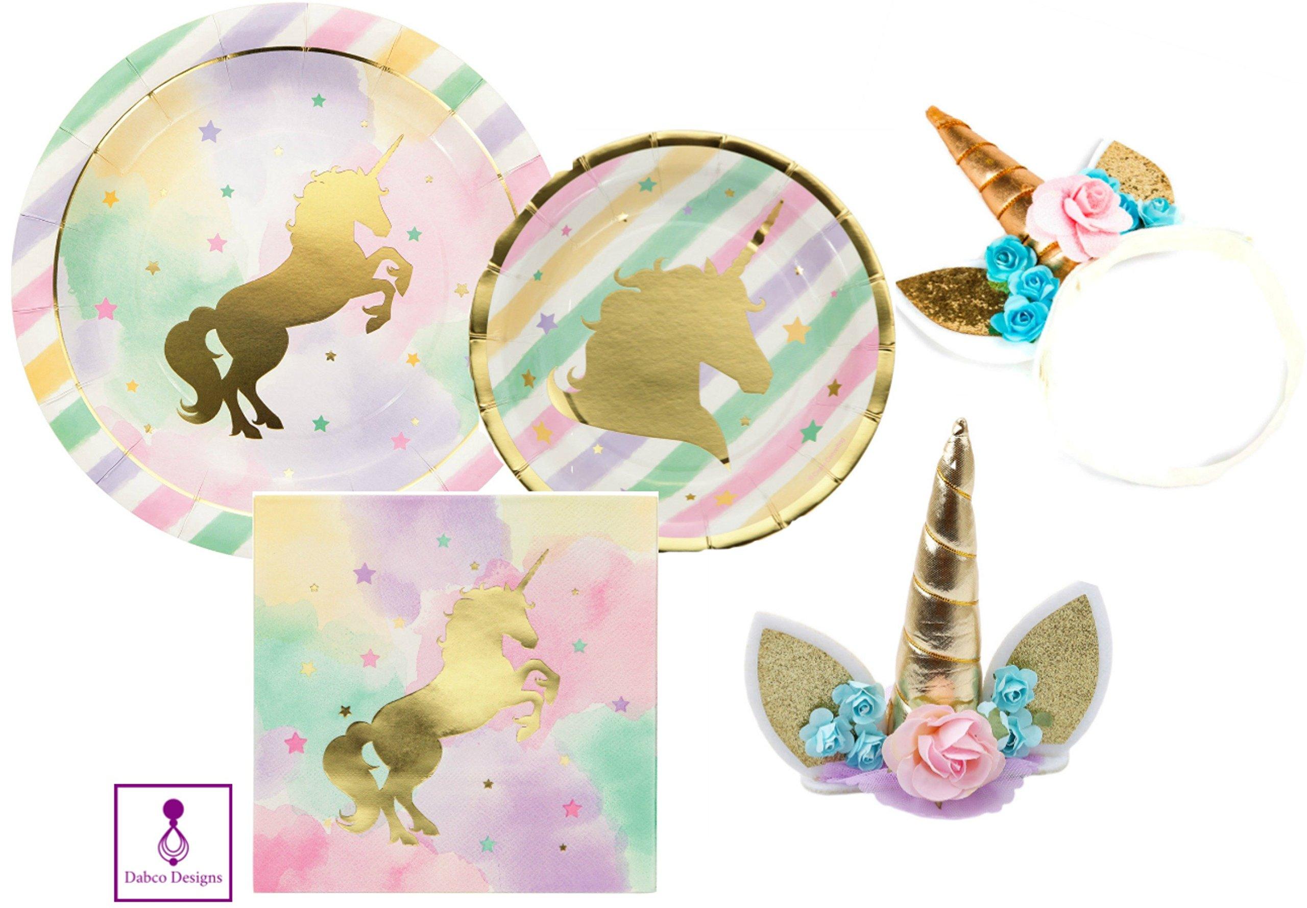 Sparkle Unicorn Party Supplies Set & Party Decorations Unicorn Sparkle Party Supply Pack - Tableware for 8 Guests - Dinner Plates, Dessert Plates, Napkins with Unicorn Cake Topper and Unicorn Headband