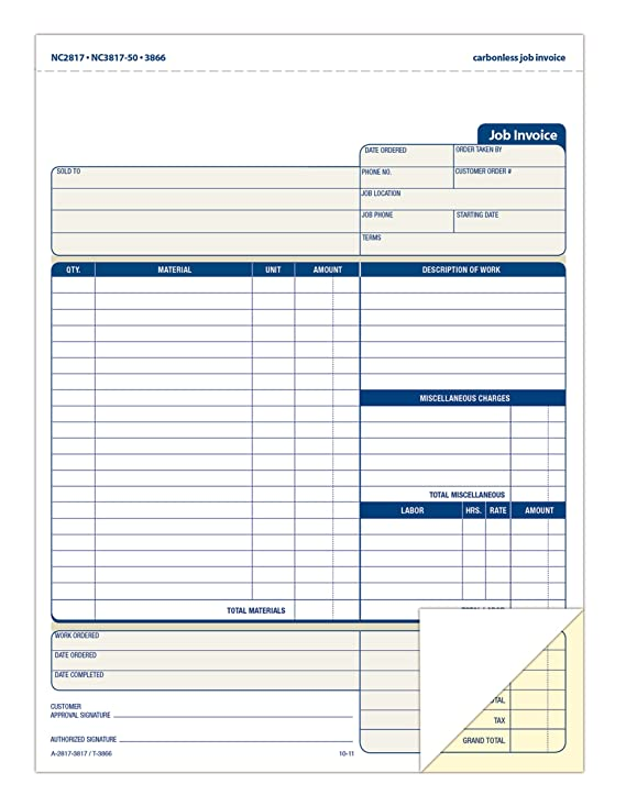 amazon com adams job invoice book 2 part carbonless 8 1 2 x 11