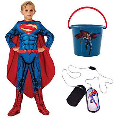 DC Comics Child's Photo Real Superman Costume Bundle, Small: Toys & Games