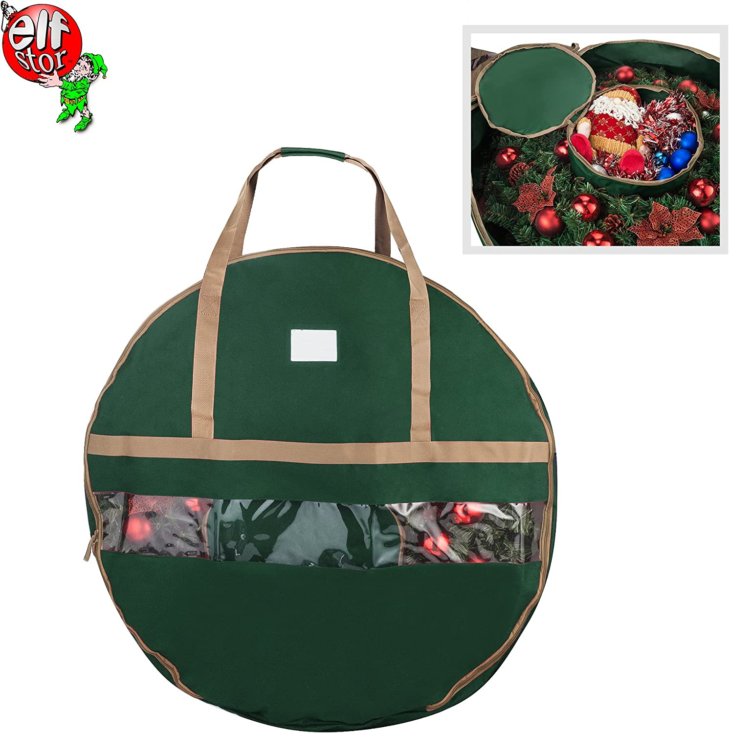"""Constructed of Durable 600D Oxford Material 30/"""" Holiday Wreath Bags Green Primode Wreath Storage Bag with Clear Window Garland or Xmas Wreath Container for Easy Storage"""
