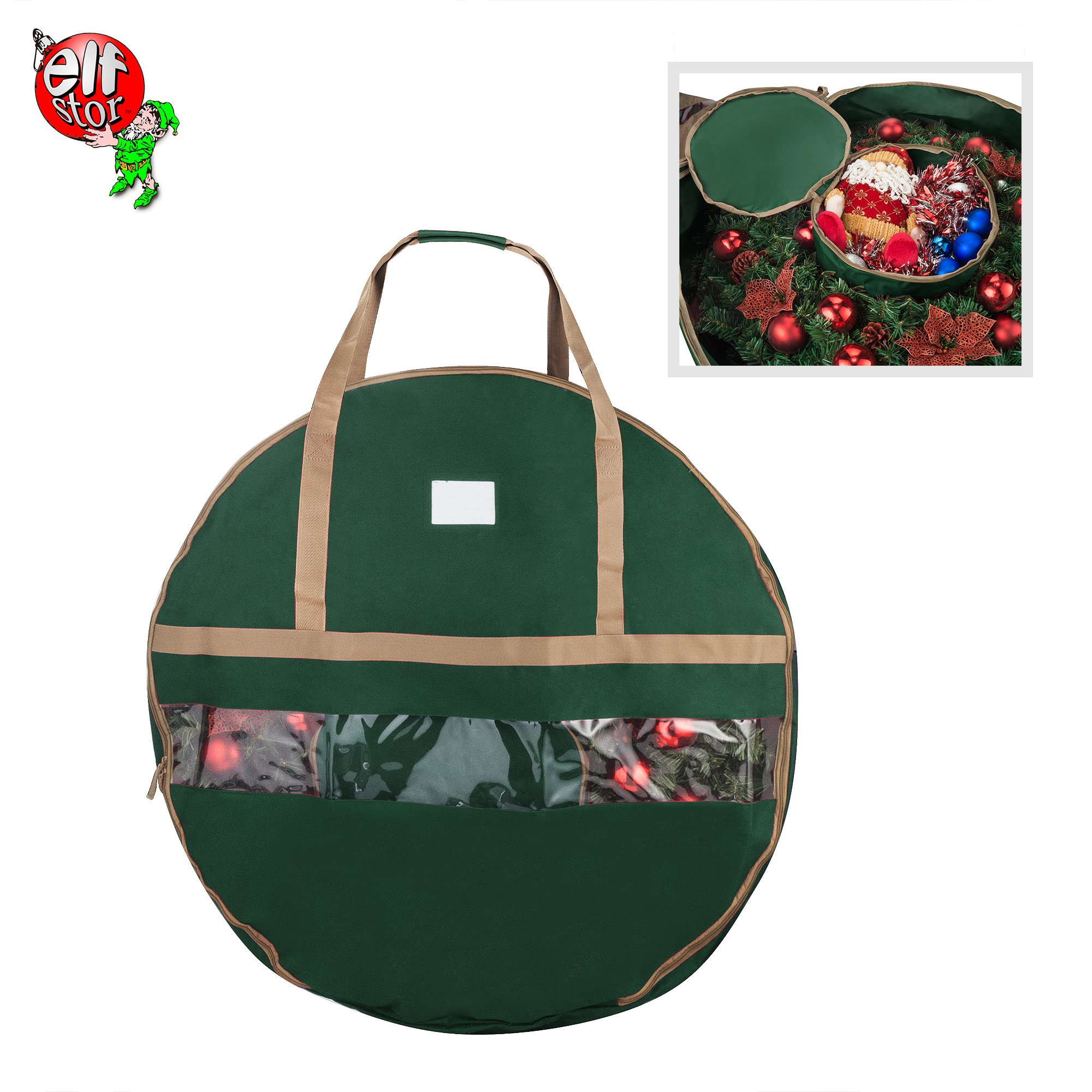 Elf Stor 83-DT5168 Ultimate Green Holiday Christmas Storage Bag for 48'' Inch Wreaths by Elf Stor