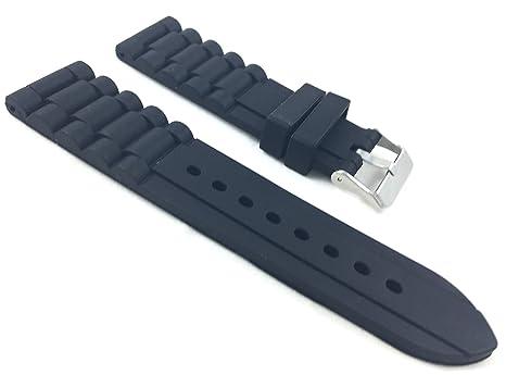 24 mm negro deporte cadena enlace suave caucho de silicona ...