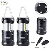 Camping Lantern, LED Lantern Lights with Magnetic Base 2 Pack Portable Camping Gear Collapsible COB Water Resistant Survival Kit for Emergency Hurricane Whistle and Fire Starter Kit Included
