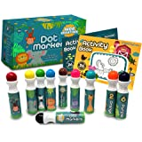 Wee Creators Washable Dot Markers for Kids with 2 Educational Activity Books   10 Color Set (Original)