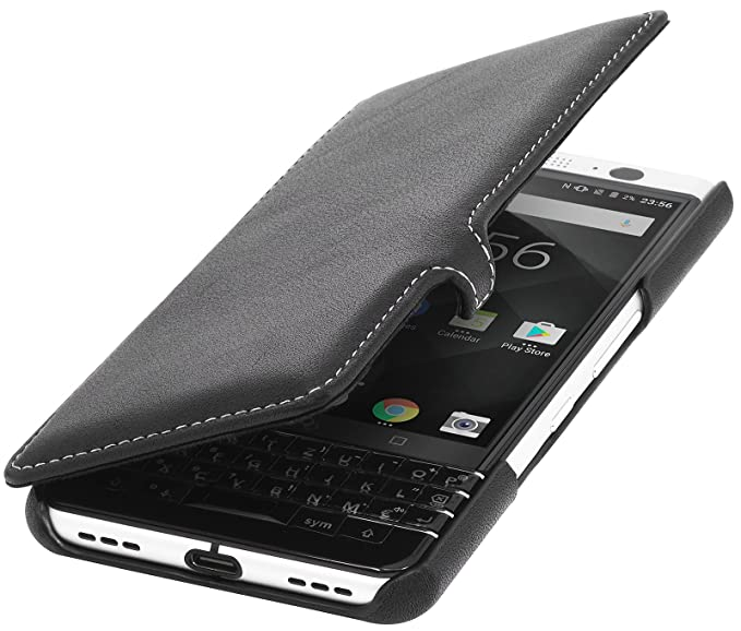premium selection 4f42d 0bb0e StilGut Genuine Leather Flip Case for BlackBerry KEYone, Book Type Cover  with Clasp and Sleep/Wake Function, Black Nappa