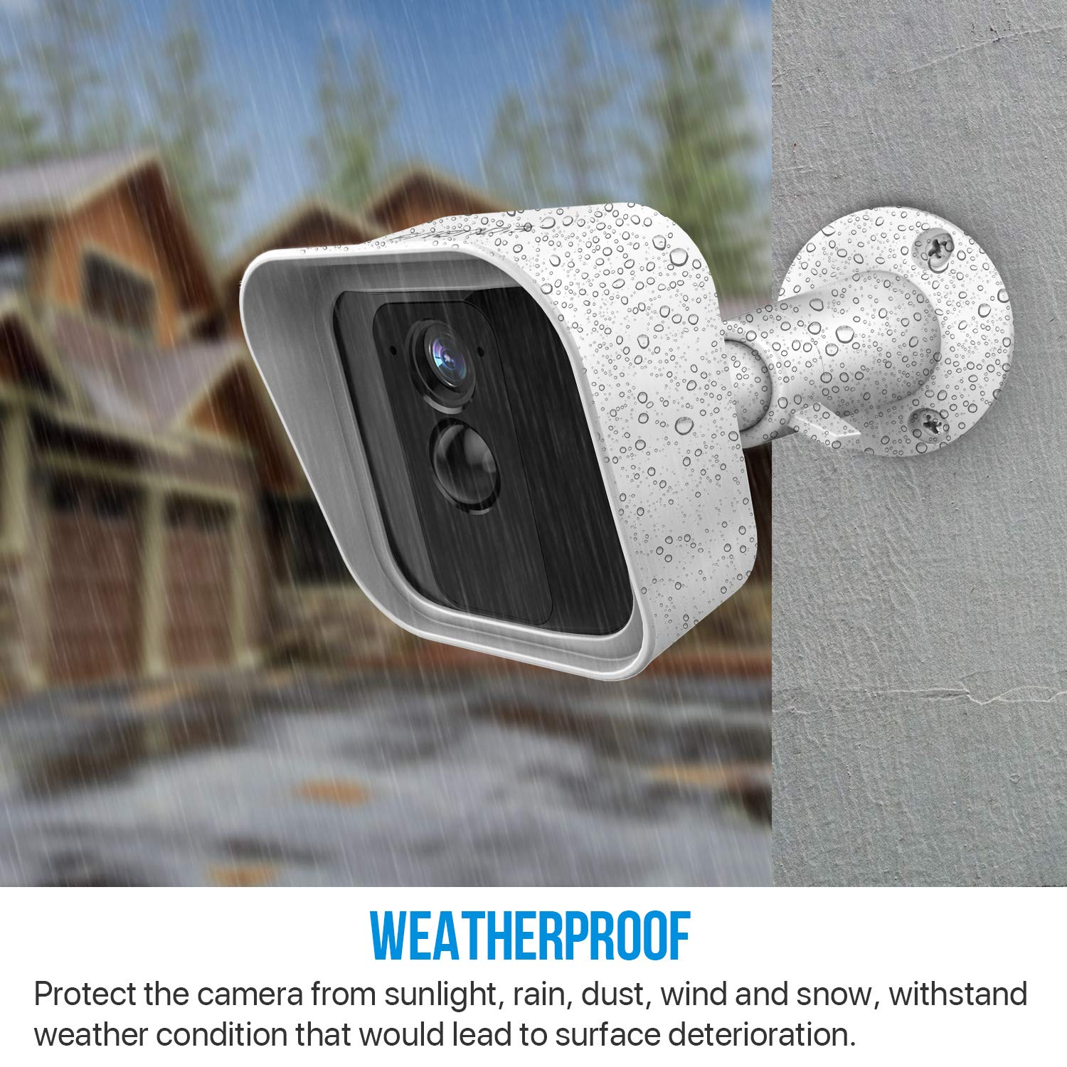 White Frienda Silicone Protective Skin Cover and 360 Degree Adjustable Wall Mount Bracket Compatible with Blink XT Indoor//Outdoor Security Camera 3 Sets