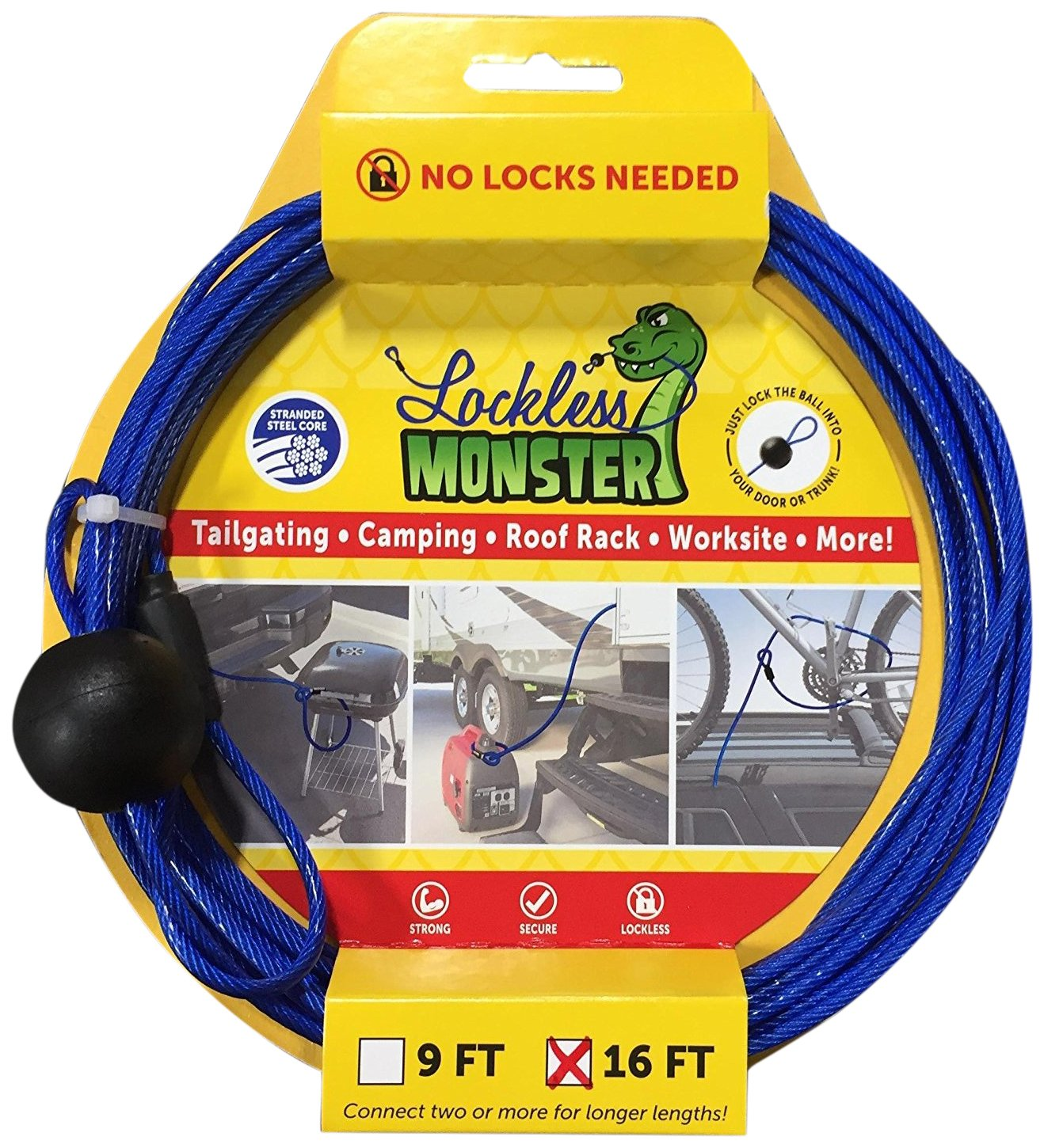 Lockless Monster Anti-Theft Cable No Locks Multitools, 16'