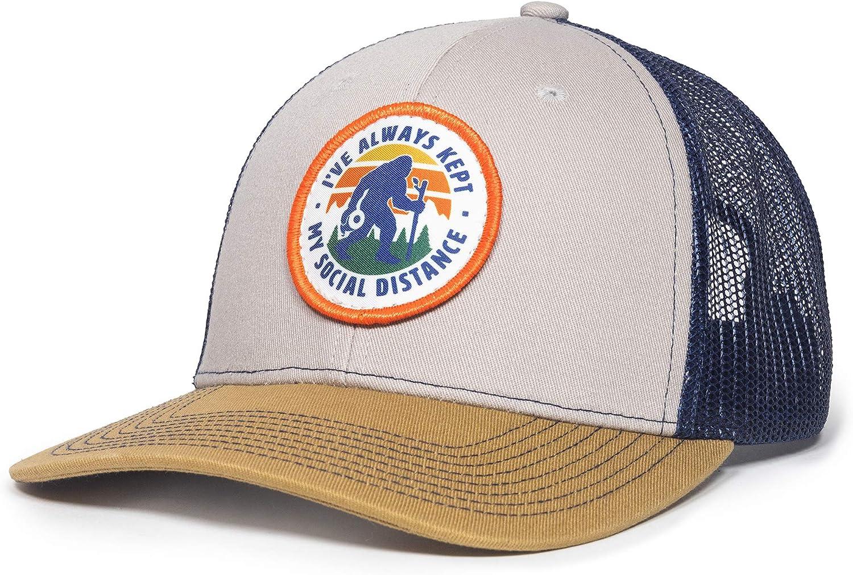 Social Distancing Sasquatch Scout Patch Mesh Back Trucker Hat - Adjustable Snapback Baseball Cap for Men & Women Gray