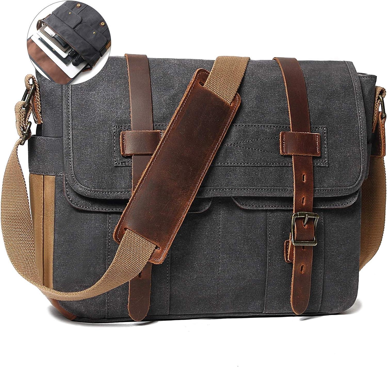 Messenger Bag for Men 15.6 Inch Rugged Waxed Canvas Laptop Bag Waterproof Genuine Leather Briefcase Satchel Bags for Men Large Computer Work Bag, Grey