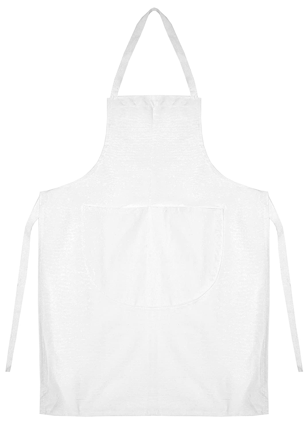 Kids School Cotton Woodwork Craft Cookery Art Plain Apron Bib (White)