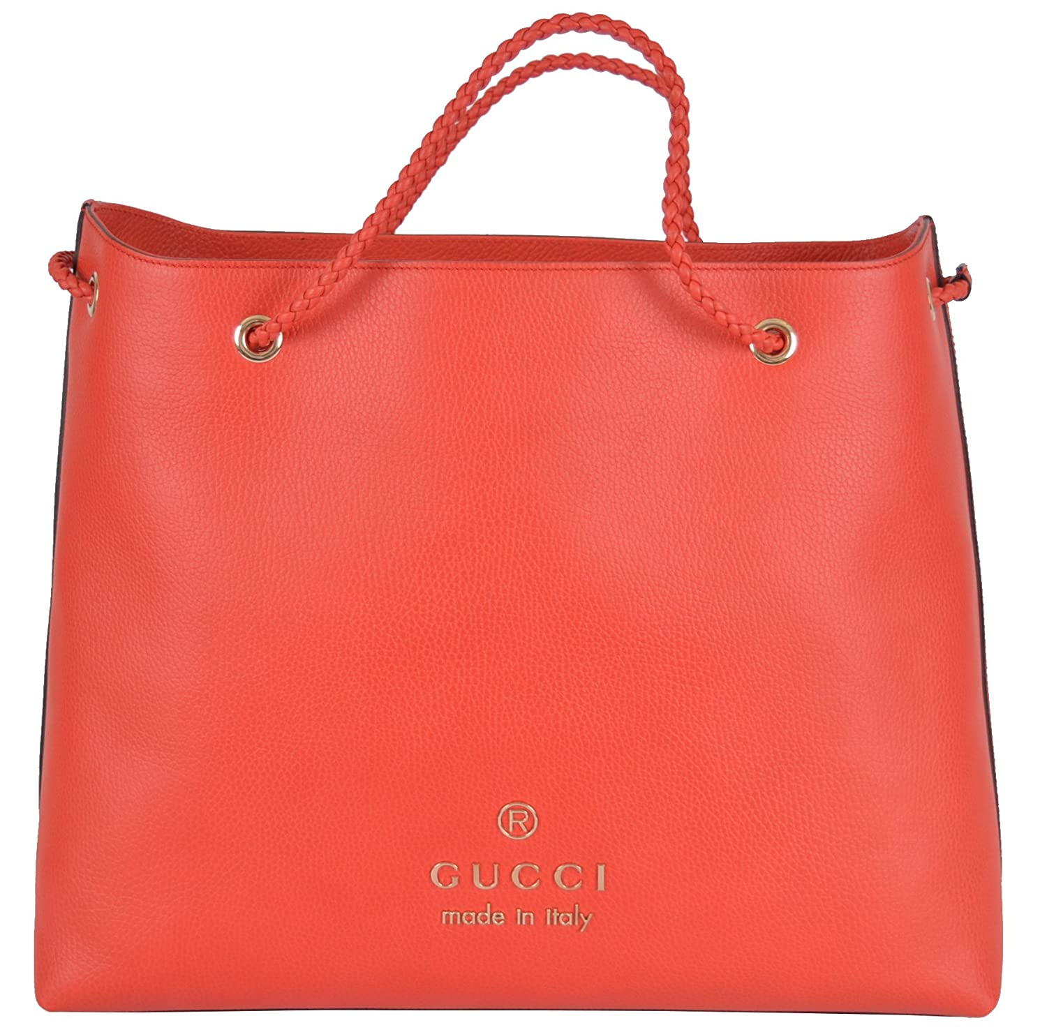 bfb1c1605f7 Amazon.com  Gucci Women s Coral Red Textured Leather Large Braided Handle  Tote Handbag  Clothing