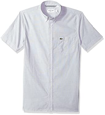 30bd3d0ab Lacoste Men s Short Sleeve End   End Button Down Collar Slim Woven Shirt