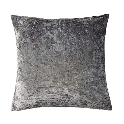 pre order on feet shots of great deals 2017 Amazon.com : SOFT CRUSHED VELVET SILVER GREY THROW PILLOW ...