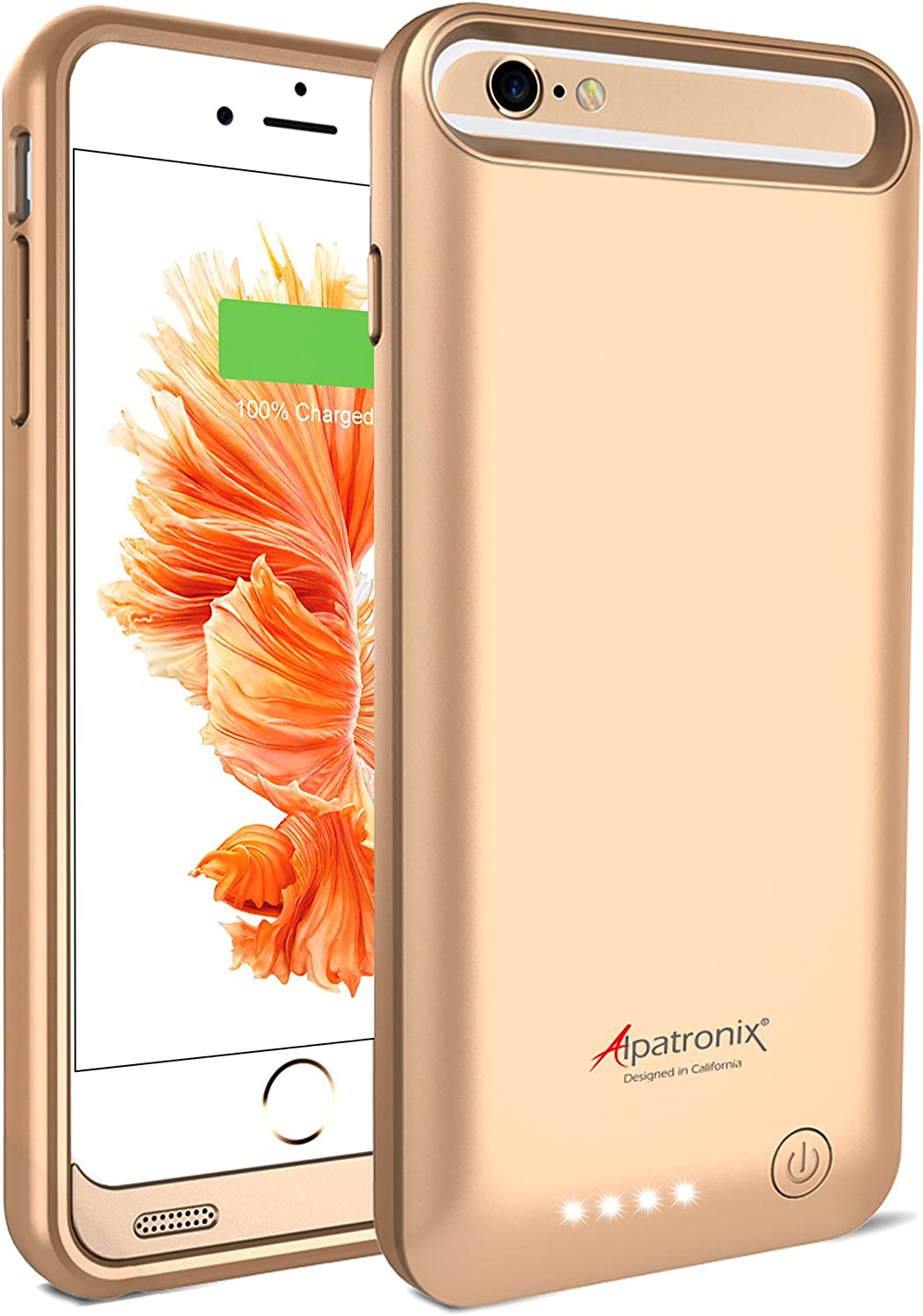 Alpatronix iPhone 6S Plus/6 Plus Battery Case, 4000mAh MFi Certified Slim Portable Protective Extended Charger Cover Compatible with iPhone 6S Plus & iPhone 6 Plus (5.5 inch) BX140plus - (Gold)