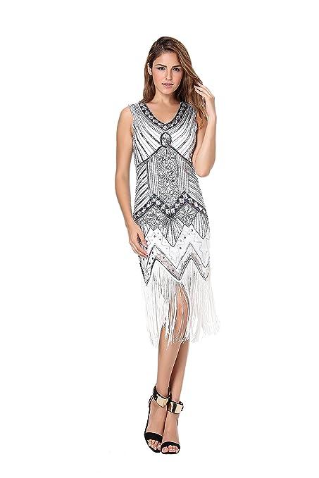 Clothin - Vestido de lentejuelas para mujer, años 20, diseño tipo Gatsby, cóctel, vestido de fiesta con flecos: Amazon.es: Ropa y accesorios