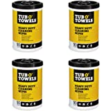 """Tub O Towels Heavy-Duty 10"""" x 12"""" Size Multi-Surface Cleaning Wipes, 90 Count Per Canister - 4 Pack"""
