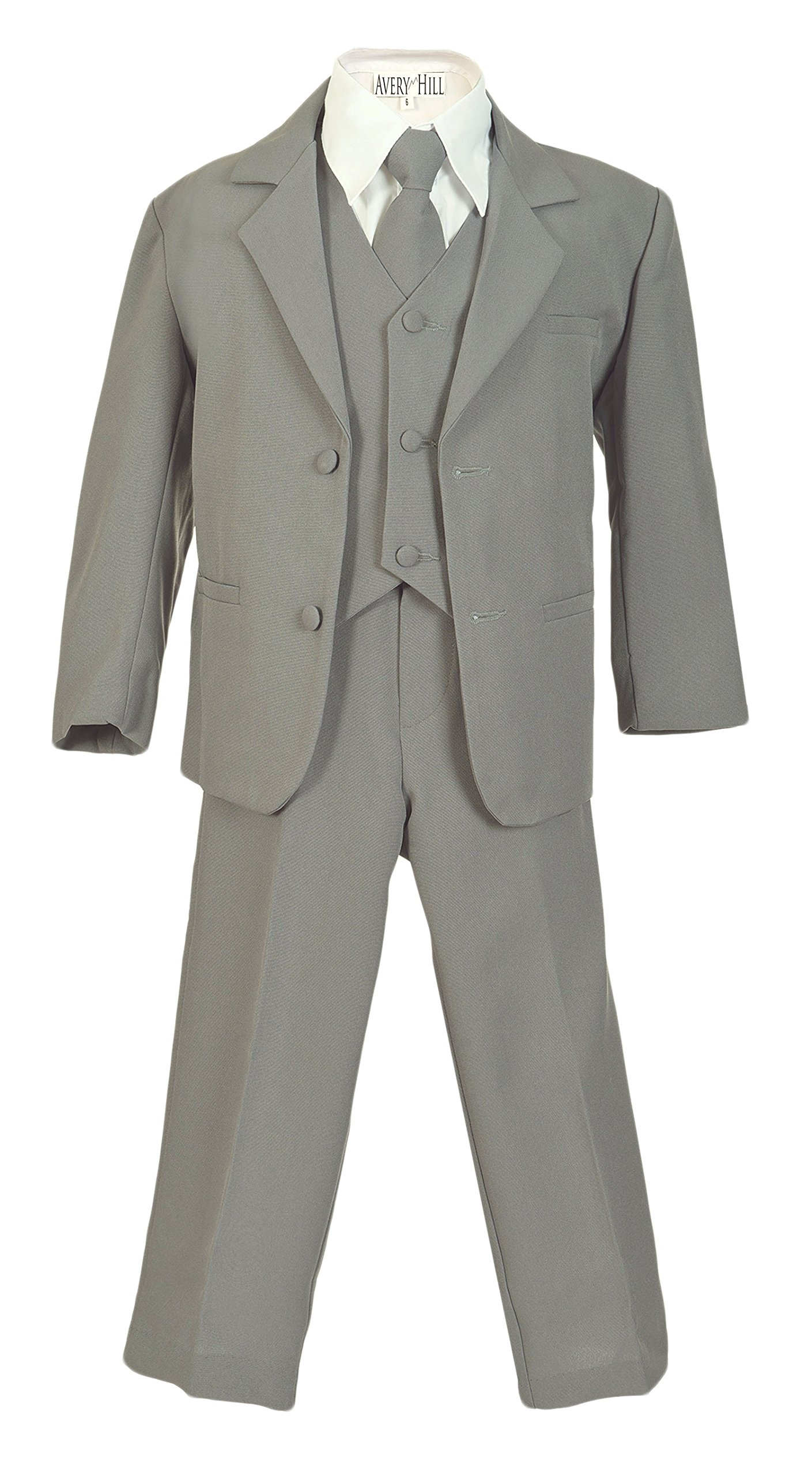 Avery Hill Boys Formal 5 Piece Suit with Shirt and Vest SilverWhite XL by Avery Hill