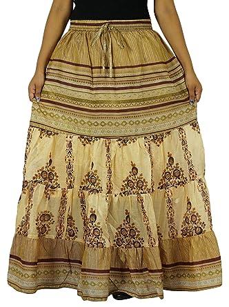 Indianbeautifulart Puro Vestido Maxi Falda Larga Acampanada 5 ...