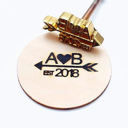 Amazon Com Custom Logo Wood Branding Iron Durable Leather Branding Iron Stamp Wood Branding Iron Wedding Gift Initials With Arrow Design 2 X2