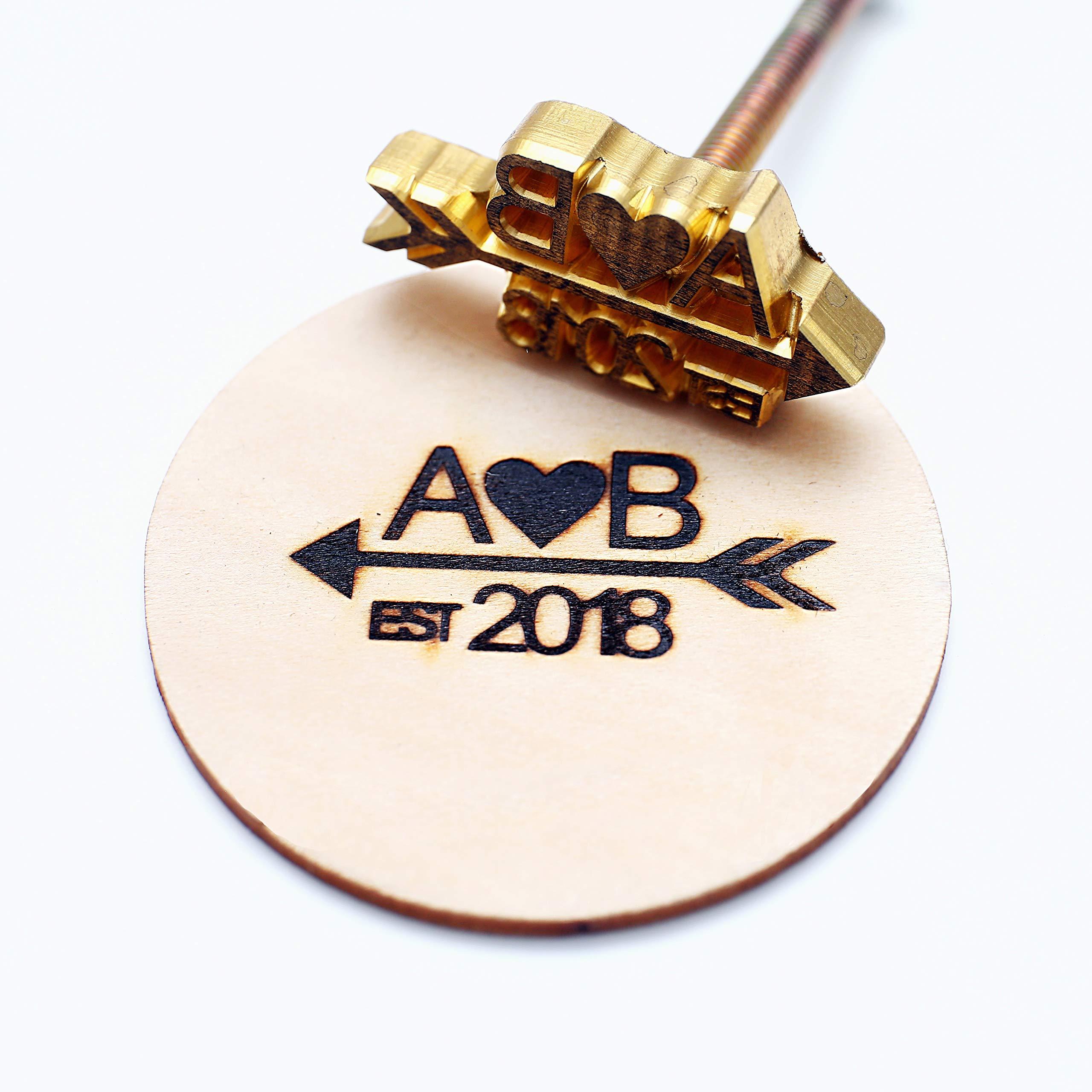 Custom Logo Wood Branding Iron,Durable Leather Branding Iron Stamp,Wood Branding Iron/Wedding Gift,Initials with Arrow Design (2''x2'')