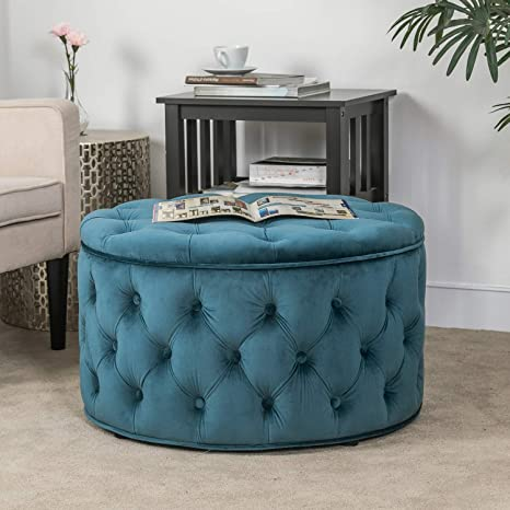 Cool Homebeez Velvet Round Storage Ottoman Button Tufted Footrest Stool Bench Upholstered Coffee Side Table Dark Teal Dailytribune Chair Design For Home Dailytribuneorg
