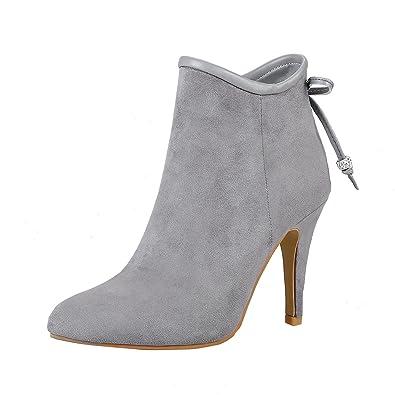 YE Damen Ankle Boots Stiletto High Heels Spitze Stiefeletten mit Reißverschluss und Schleife 10cm Absatz Elegant Schuhe