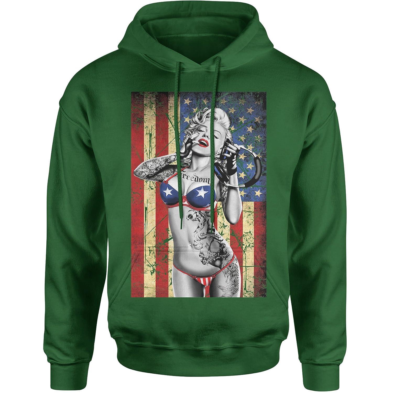 Expression Tees American Flag Marilyn Monroe Unisex Adult Hoodie
