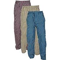 Rebizo Boy's Cotton Comfort Fabric Checkered Design Pyjama (Multicolour, Medium) - Pack of 3