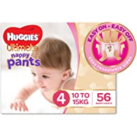 Huggies Ultimate Nappy Pants, Girls, Size 4 Toddler (10-15kg), 56 Count