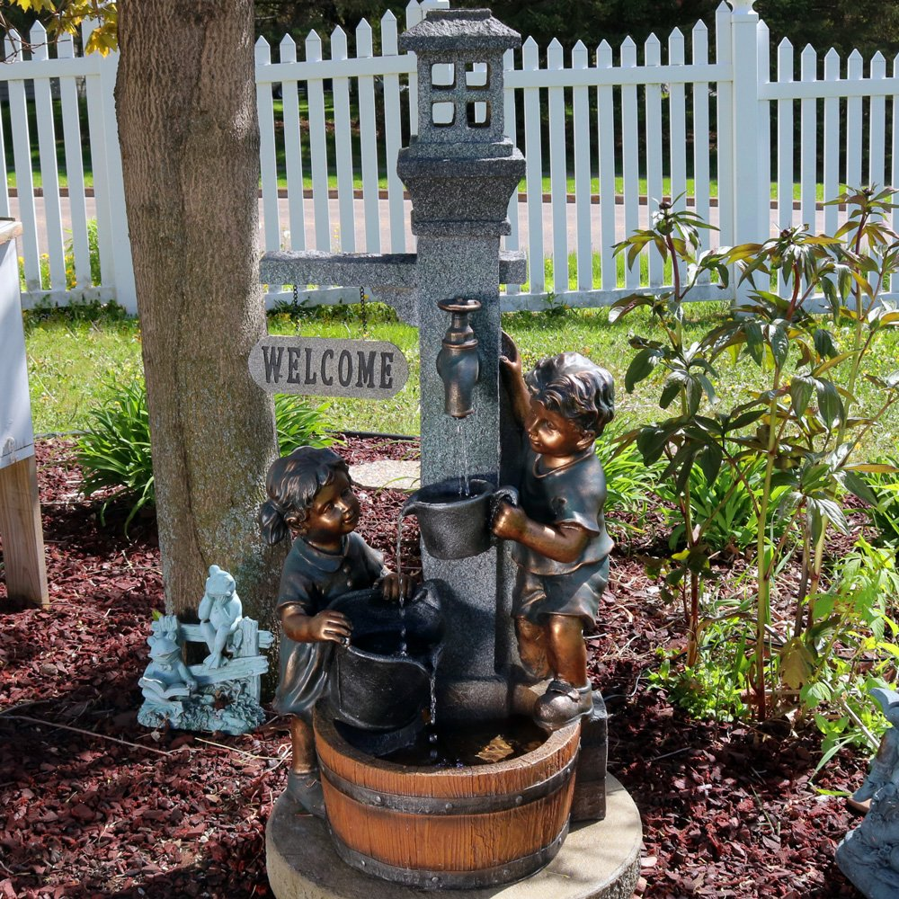 Sunnydaze Children Playing with Water Faucet Outdoor Garden Fountain with LED Lights, 40 Inch by Sunnydaze Decor