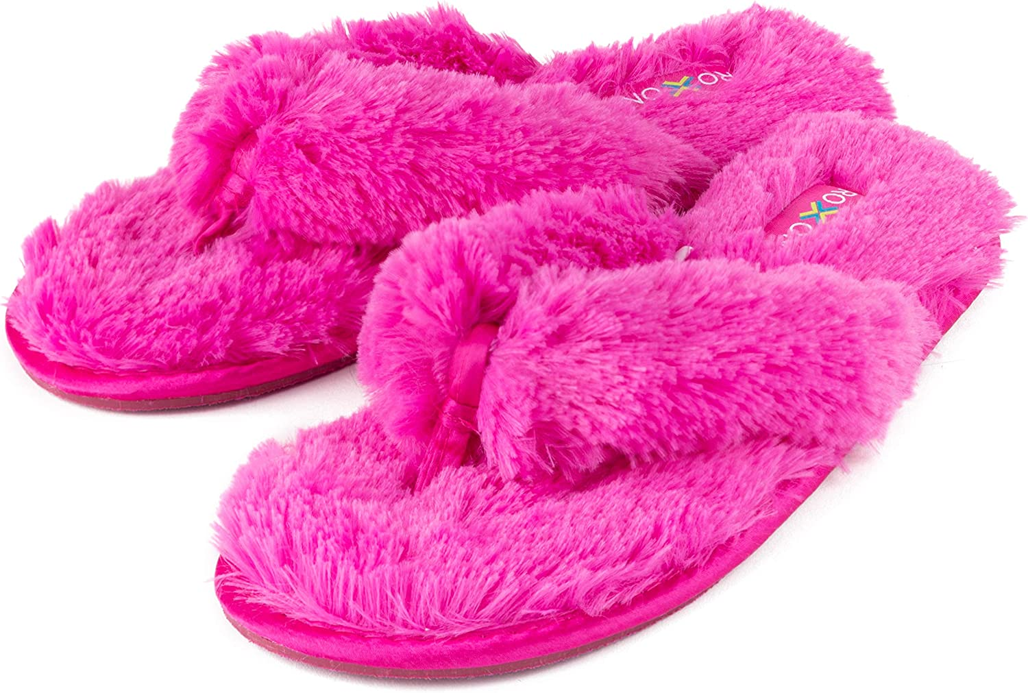 Roxoni Fuzzy House Slippers for Women Comfortable Furry Spa Thongs Cozy Slip On Flip Flops Soft Insole & Rubber Outsole