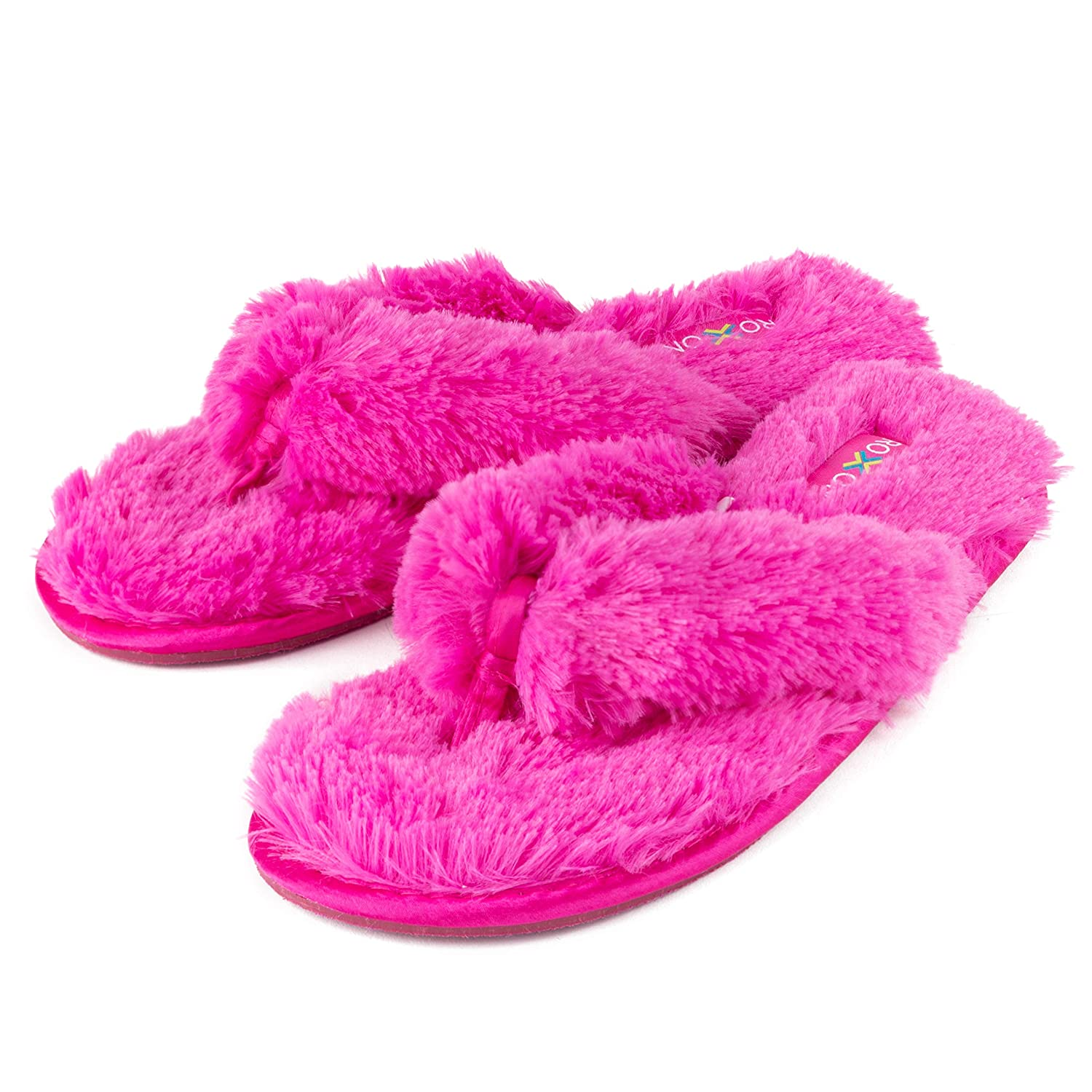 971e18edeab2 Roxoni Fuzzy House Slippers for Women – Comfortable Furry Spa Thongs – Cozy  Slip On Flip Flops - Soft Insole   Rubber Outsole - Casual Women s Shoes