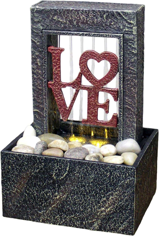 Newport Coast Raining Love LED Fountain Desk Table Top Indoor Water Fountain NEW