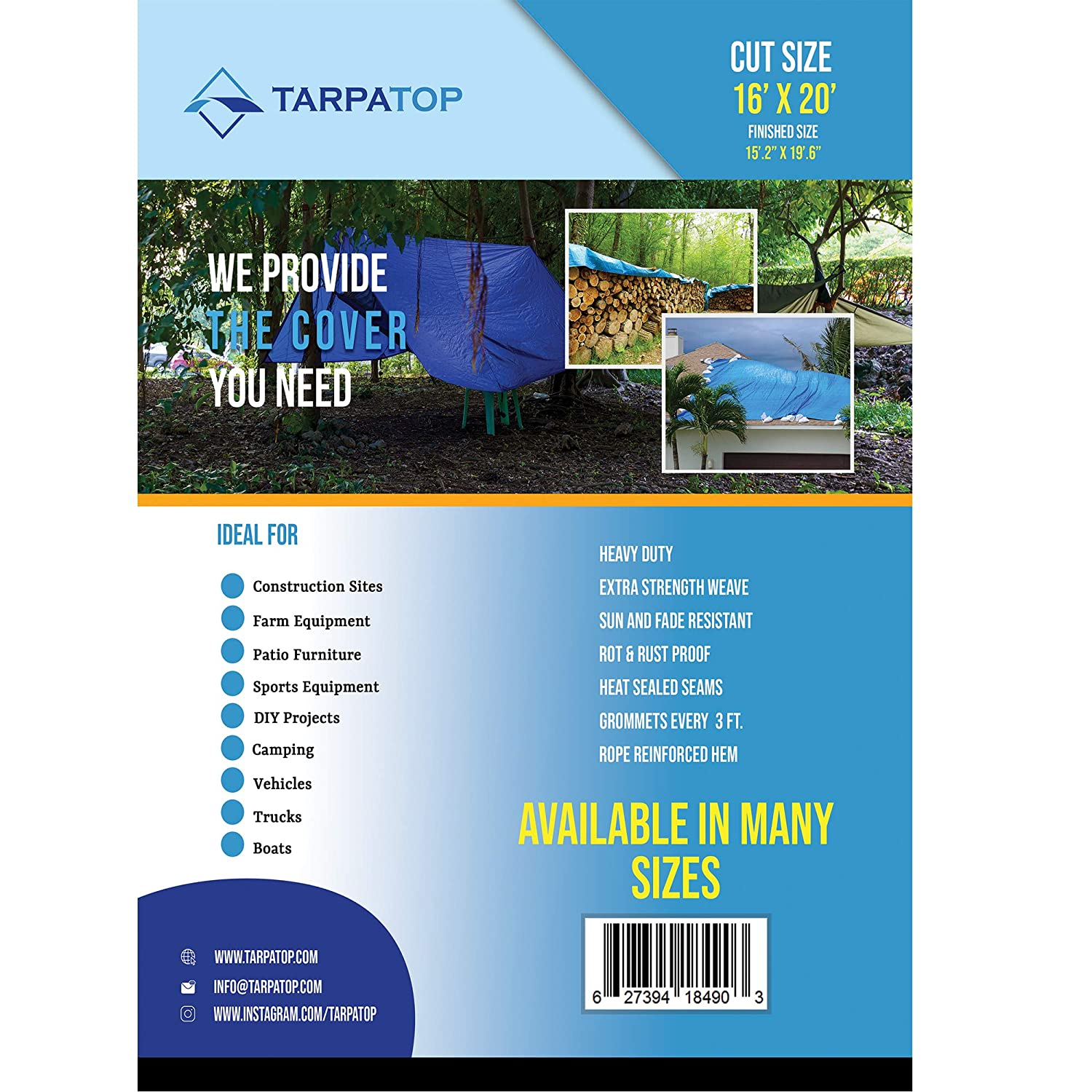 Model Outdoor/&Repair Store 12x12 Blue Multi-purpose 6ml Waterproof Poly Tarp Cover with Tent Shelter Camping Tarpaulin By Prime Tarps