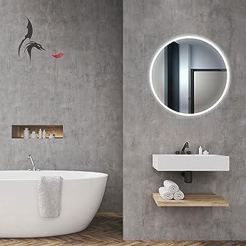 Miroir de salle de bain lumineux LED rond 60 cm classe