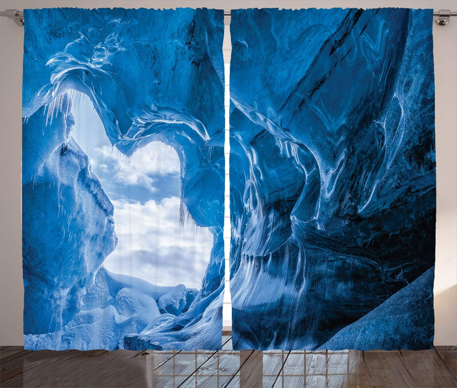 Ambesonne Natural Cave Curtains, Glacier Frozen Chilled Den in Iceland Natural Odd Forms Nordic Scandinavian Image, Living Room Bedroom Window Drapes 2 Panel Set, 108