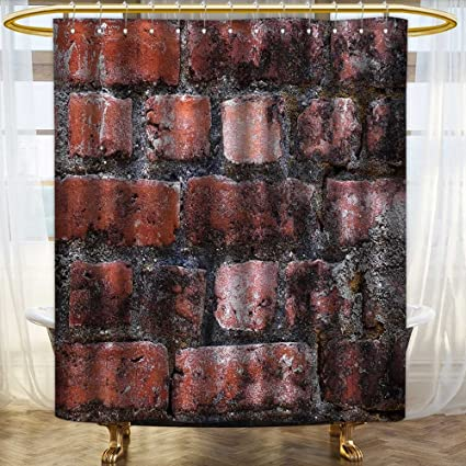 Analisahome Modern Stylish Bathroom Shower Curtain Brick Wall From An Old Odorless Eco Friendly