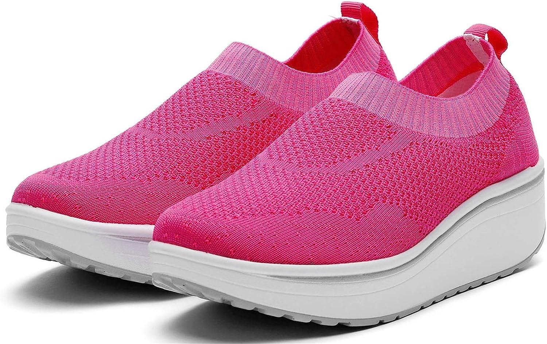 Wuiwuiyu Femme Basket Chaussure Compensé Chaussures De Marche Fitness Gym Sport Rose