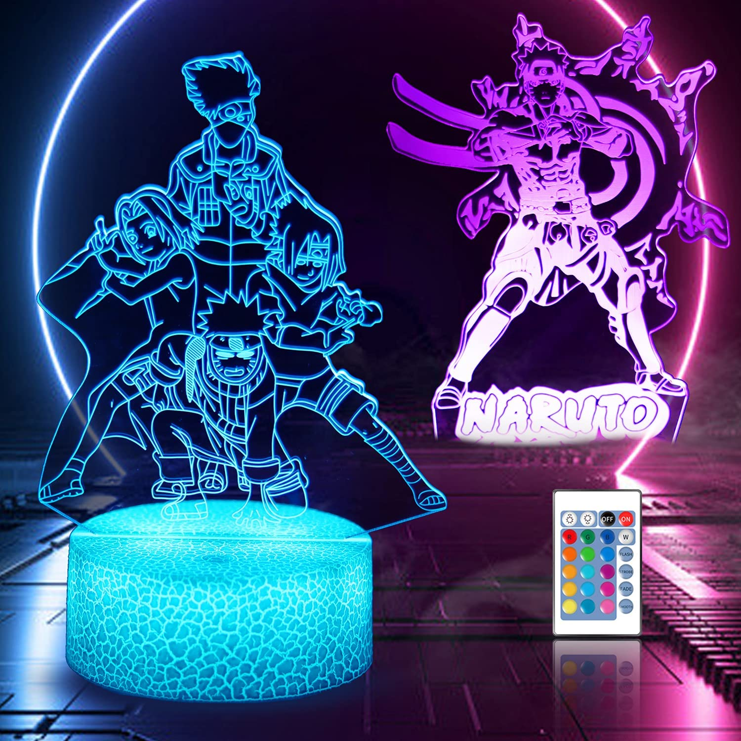 3D Night Light 3D Anime Illusion Lamp and 16 Color Change Decor LED Table Lamp with Remote Control, Christmas Birthday Gifts for Boys Kids Room Decor