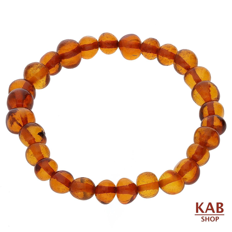 KAB BALTIC AMBER GEMSTONE SMALL BRACELET ANKLET COGNAC ROUND BEADS teething amber KAB-B.CR