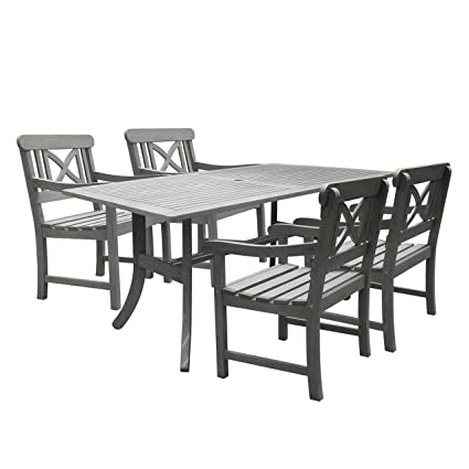 Vifah V1300SET8 Renaissance Rectangular Table And Armchair Outdoor  Hand Scraped Hardwood Dining Set