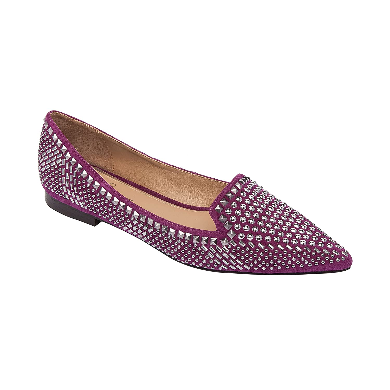 Linea Paolo Portia | Stud Adorned Suede Slip-On Moc Slipper Comfortable Flat (New Fall) B07DM9YZDT 10 M US|Purple Suede