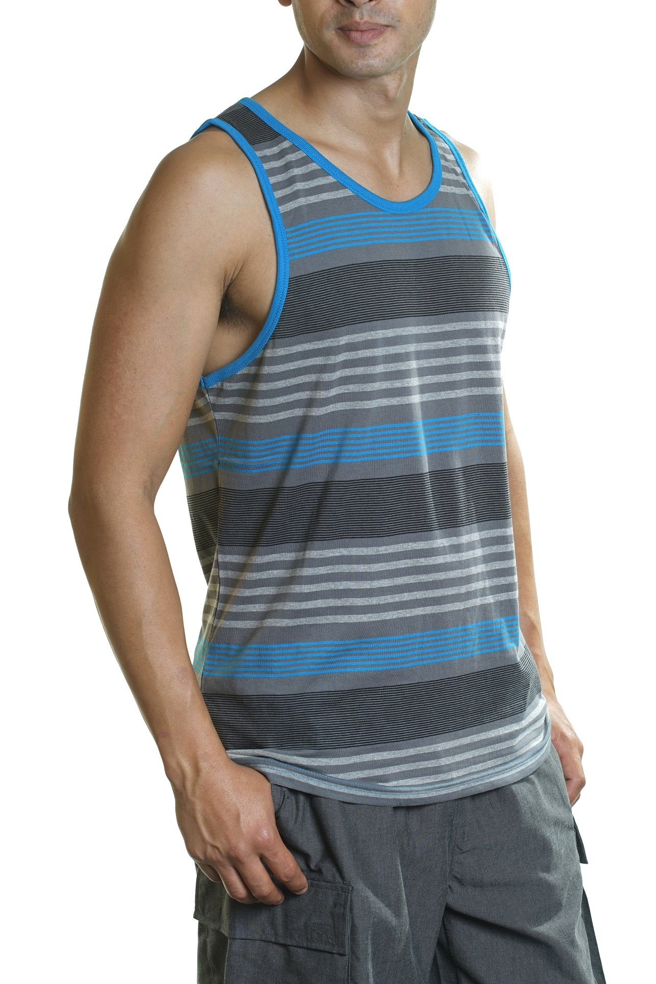 YAGO Men's Striped Tank Top Slim fit (Blue/Gray/Black, Small) by YAGO