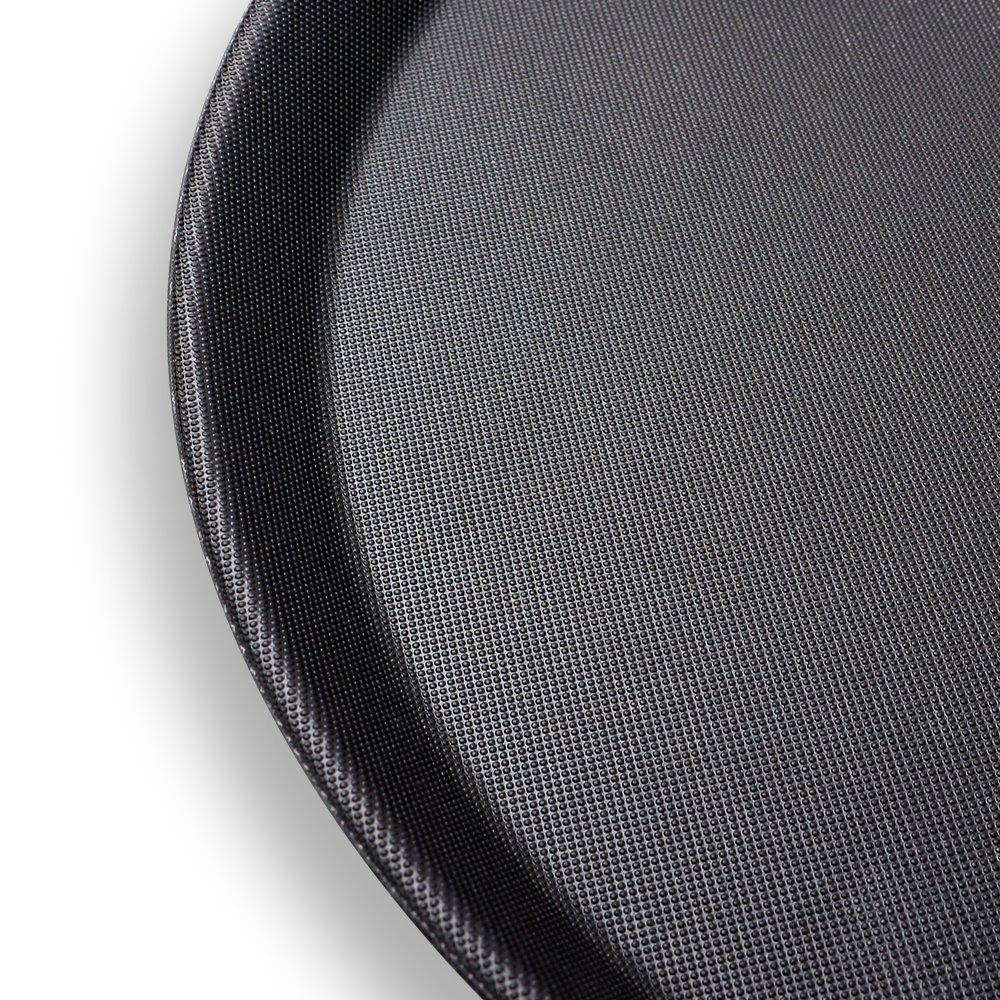 S/o® 5 Pack Gastro Bandeja 35,5 x 2 cm redondo negro con revestimiento antideslizante 2 cm Borde Alto LMi Bandeja gastro Bandeja tabletas: Amazon.es: Jardín